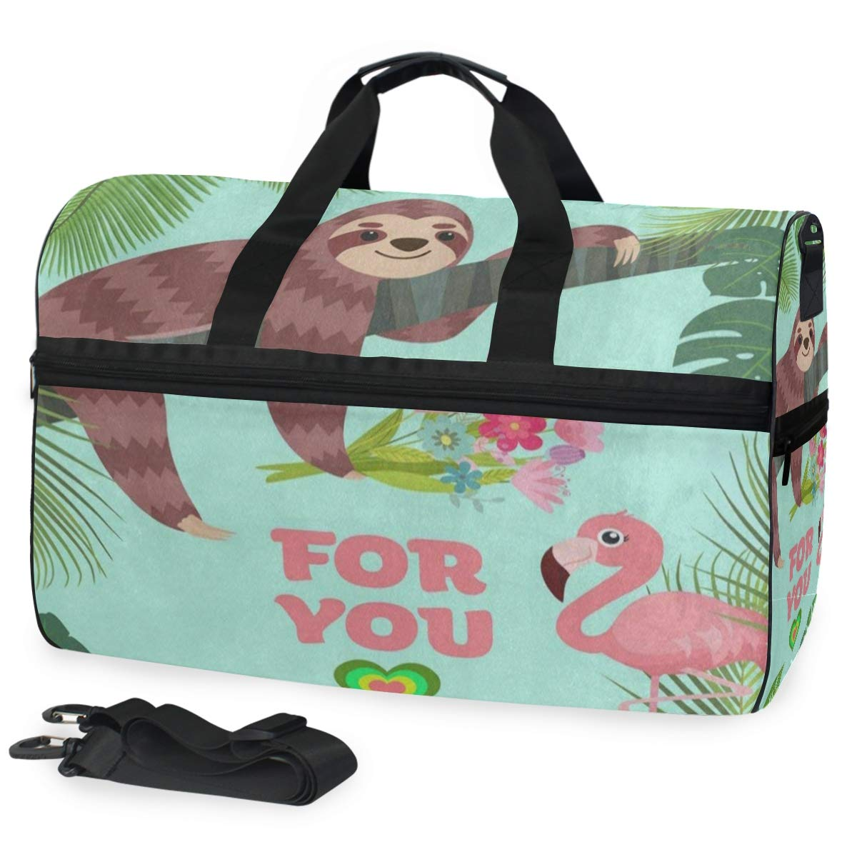 Travel Tote Luggage Weekender Duffle Bag Flamingo Sloth Palm Tree Large Canvas shoulder bag with Shoe Compartment