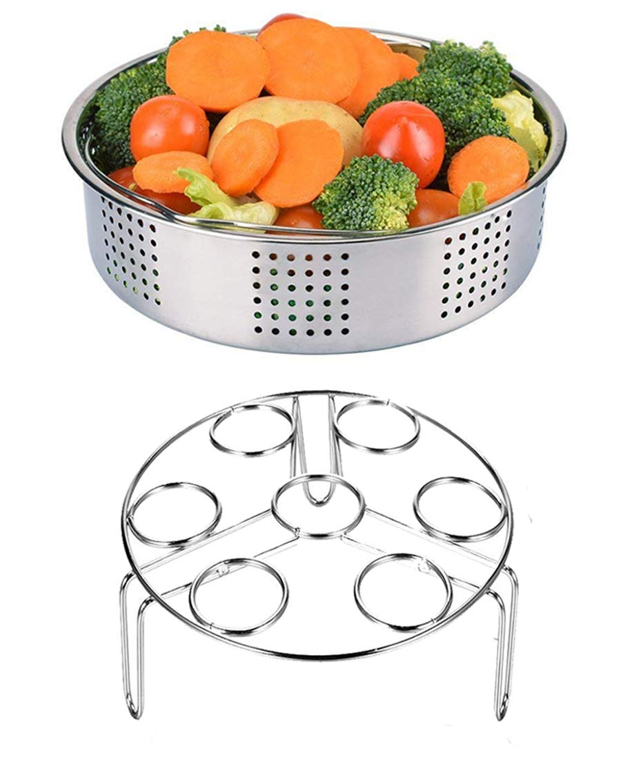 2 Pieces Steamer Basket Rack with Egg Steamer Rack Trivet for Instant Pot and Pressure Cooker Accessories, Fits Instant Pot 6, 8 qt