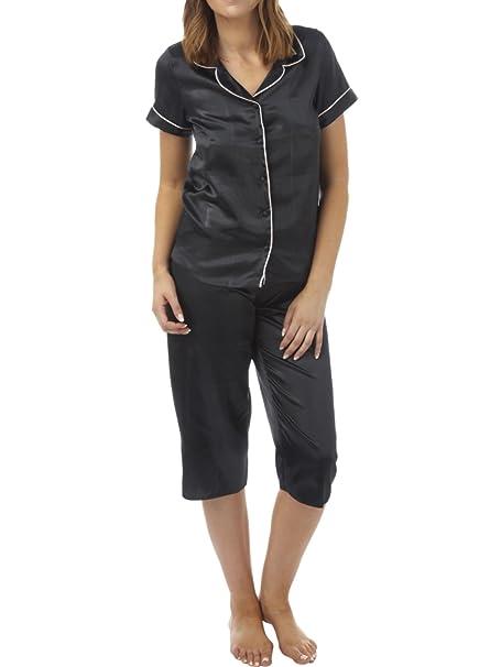 BHS Short Sleeve Satin Pyjama BH06169 Black 8