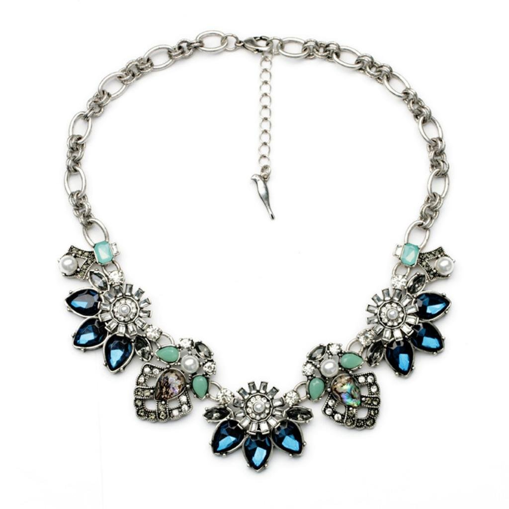 Fit&Wit Rhinestone Crystal Choker Reasin Statement Fashion Costume Necklace for Women