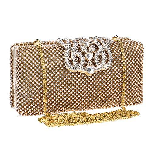 Graduación Bolso Oro Prom Cristal Deslumbrante Style La De Noche Clutch Incrustado Zhongsufei Fiesta Bo Cadena Nupcial Embrague Bolsa Envelope Mensajero Bag Uxw1O
