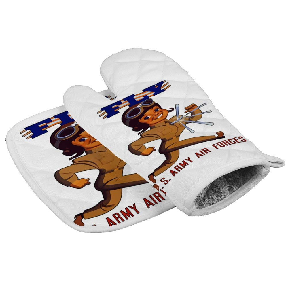 LijiahuaMitts Fly Army Air Forces Heat Resistant Oven Mitts and Pot Holders,Safe Kitchen Cooking Baking Grilling