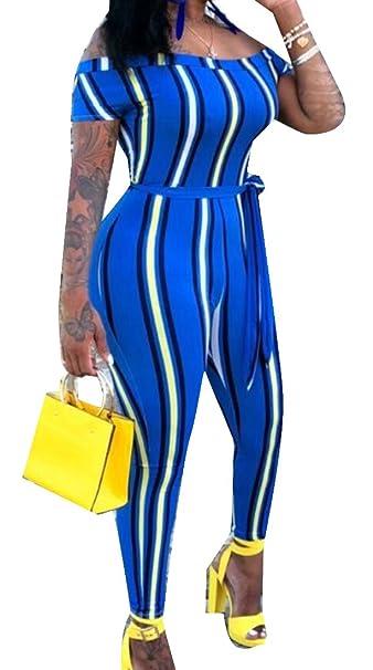 a01041f0172 Domple Women s Gradient Color Belted Slim Shoulder Off Club Long Romper  Jumpsuits Blue XS