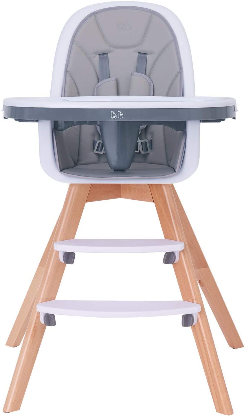 HM TECH Baby High Chair, Wooden High Chair with Removable Tray and Adjustable Legs for BabyInfantsToddlers