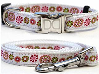 "product image for Diva-Dog 'Winter Garden' Custom Small Dog 5/8"" Wide Dog Collar with Plain or Engraved Buckle, Matching Leash Available - Teacup, XS/S"