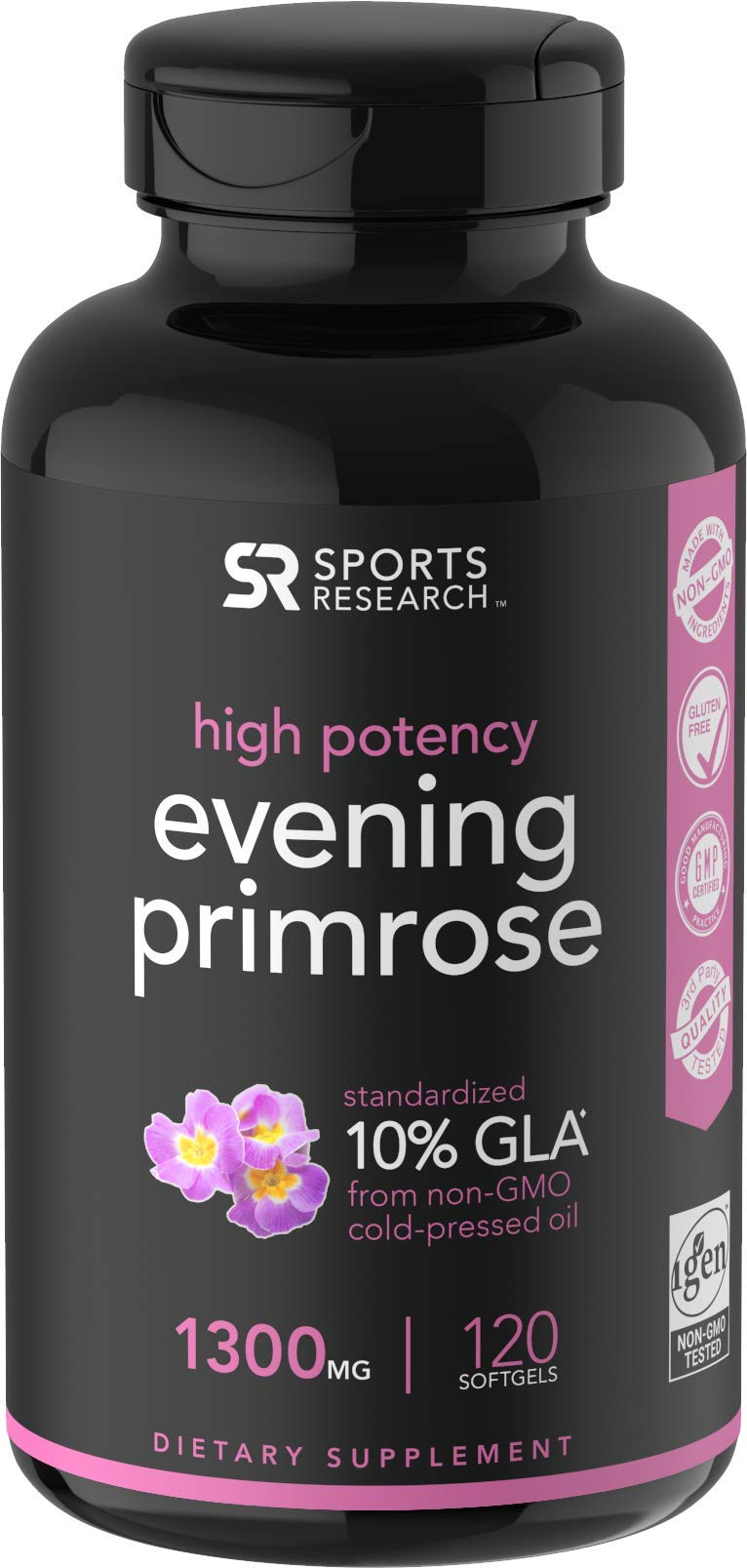 Evening Primrose Oil (1300mg) 120 Liquid Softgels, Cold-Pressed with No fillers or Artificial Ingredients; Non-GMO & Gluten Free