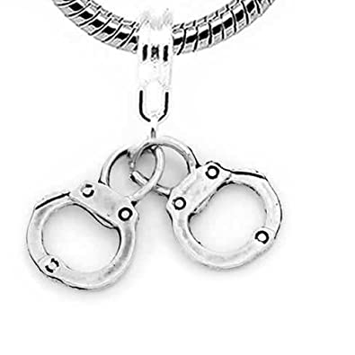 """baa346e10 Image Unavailable. Image not available for. Color: """" Handcuffs Charm  """" Dangle Bead Spacer European ..."""