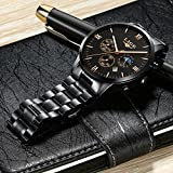 Mens Stainless Steel Watches Men Waterproof Date Calendar Sport Design Analogue Quartz Watch Business Casual Luxury Dress Black Wrist Watches with Black Dial