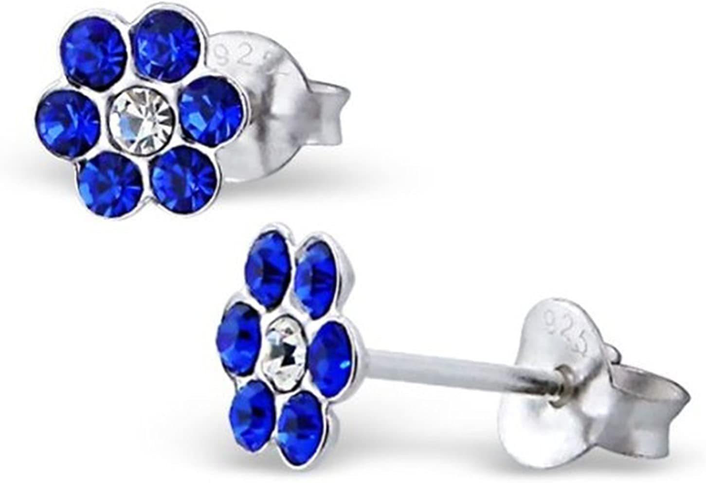 Katy Craig diseño de flores brillantes de plata de ley Juego de pendientes de tuerca con azul zafiro piedras de cristal