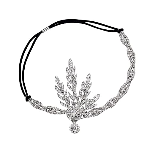 1920s Flapper Headbands Silver 1920s Flapper Great Gatsby Inspired Leaf Medallion Pearl Headpiece Headband Silver $13.99 AT vintagedancer.com