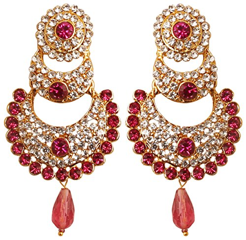Indian Earrings Designer (Touchstone Indian Bollywood White Crystals and Pink Fuchsia Chand Bali Moon Designer Jewelry Chandelier Earrings for Women in Antique Gold Tone.)