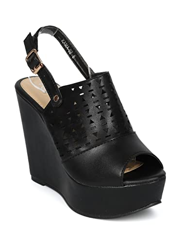 c2fe8a661f85 Alrisco Women Leatherette Peep Toe Perforated Slingback Platform Wedge  Sandal HH25 - Black Leatherette (Size