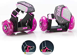 Yvolution Neon Street Rollers Pop N' Lock | Flashing Heel Wheels Clip on Skates for Kids Over 6 Year Old