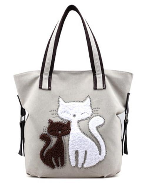 CLOCOLOR Mujer Bolsa de Mano Lona con Estampado de Gatos Bolso de Tela Casual Estilo Elegante Blanco: Amazon.es: Zapatos y complementos