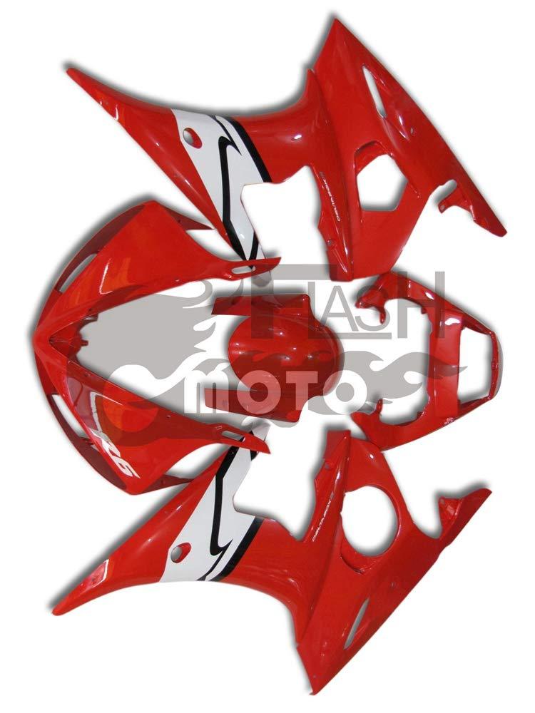 FlashMoto yamaha ヤマハ YZF-600 R6 2005用フェアリング 塗装済 オートバイ用射出成型ABS樹脂ボディワークのフェアリングキットセット (レッド,ホワイト)   B07LF2HFL9