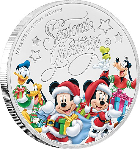 2017 NU Disney Season Greetings SEASONS GREETINGS Mickey Mouse Disney 1/2 Oz Silver Coin 1$ Niue 2017 Proof