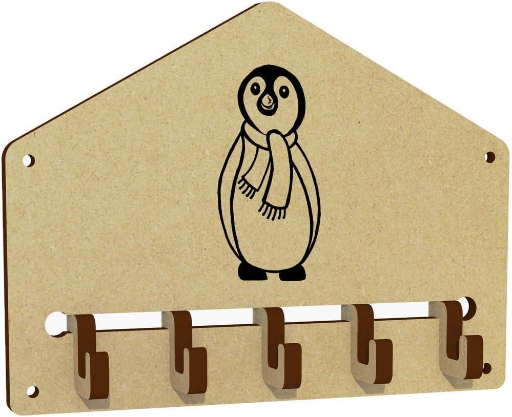 WH00041911 Azeeda Penguin With Scarf Wall Mounted Key Hooks Holder