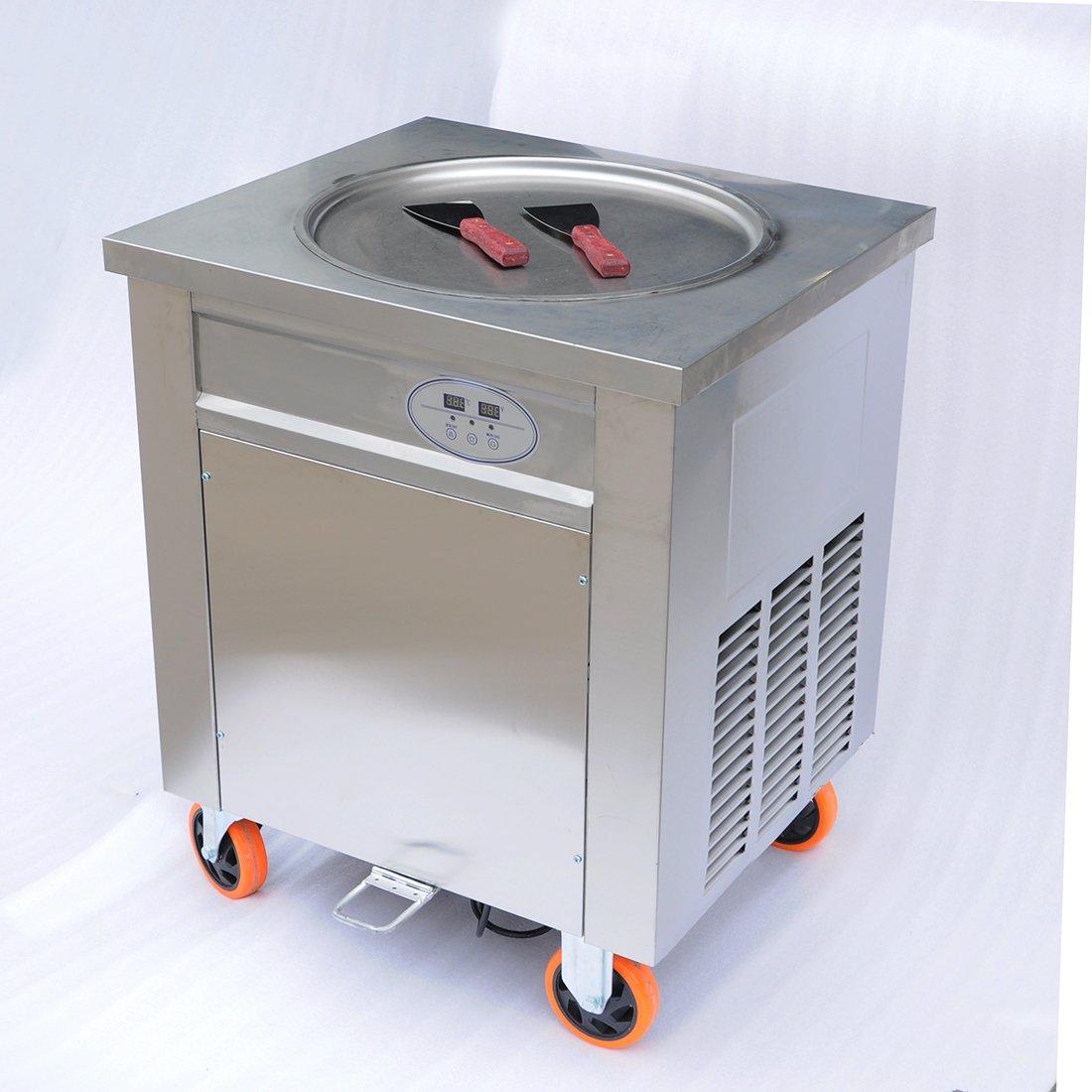 Wotefusi New Fried Ice Cream Machine Flat pan Fried Ice Cream Roll Maker For Fruit,Ice,Milk,Yogurt 900W 110V
