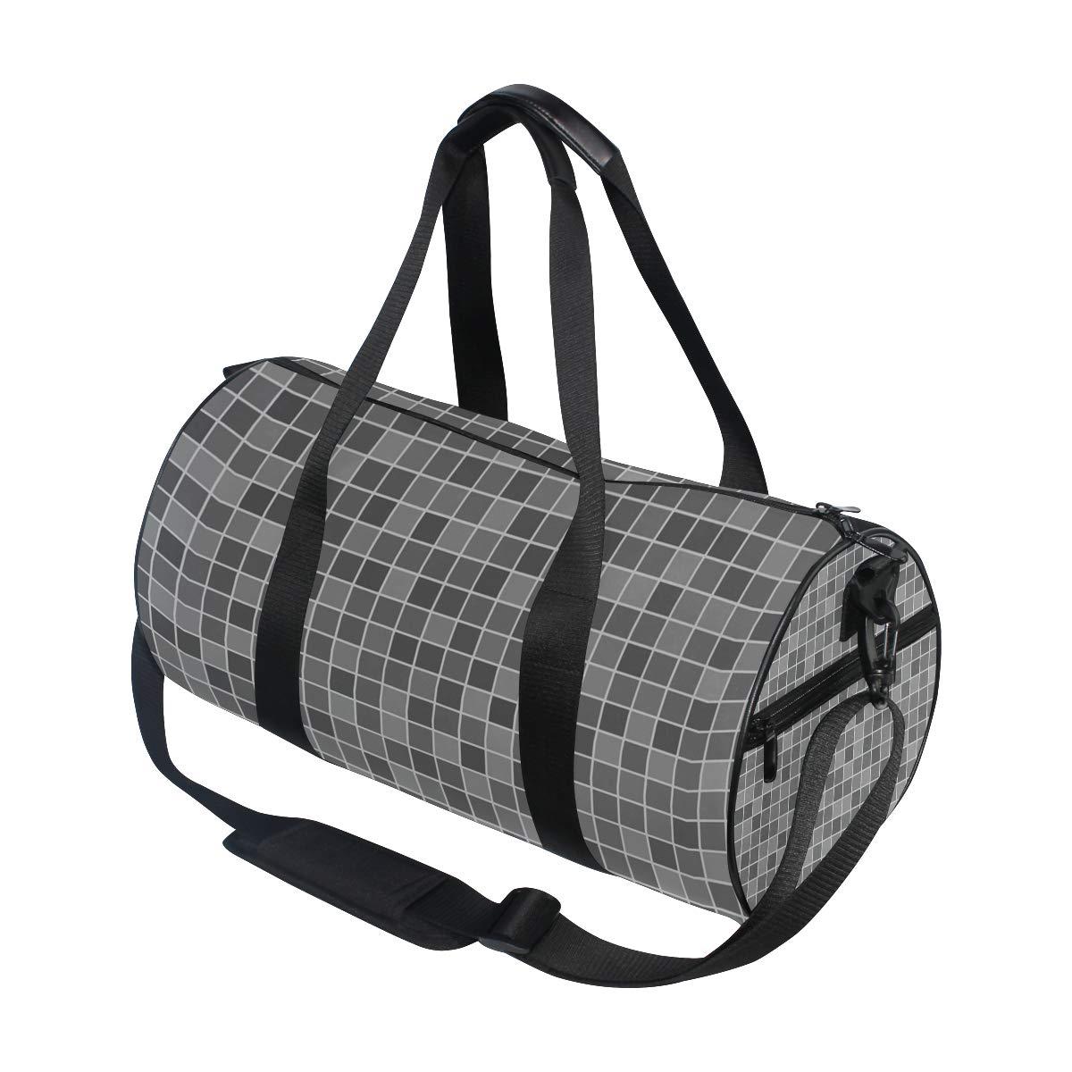 Gray Plaid Ceramic PictureWaterproof Non-Slip Wearable Crossbody Bag fitness bag Shoulder Bag