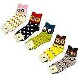 FENTI Women Cute Owl Pattern Soft Cotton Crew Socks 4/5/6 Pair Multicoloured