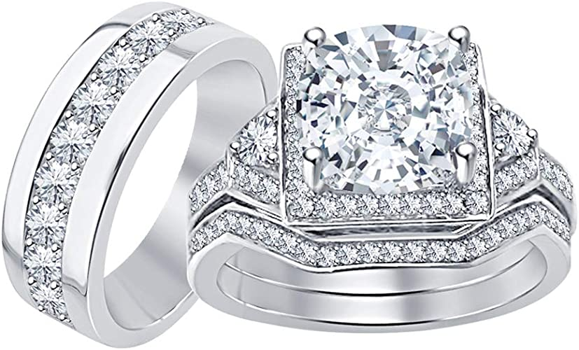 tusakha 14K Yellow Gold Plated 925 Sterling Silver Princess Black CZ Diamond Mens Wedding Band Ring