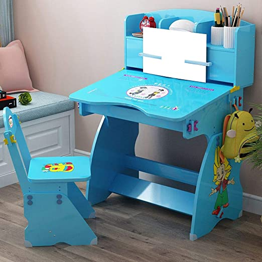 Amazon Com Kids Study Desk And Chair Set Children Cute Study Table Chair With Drawer Bookstand Storage Reading Rack For Boys Girls School And Home Bedroom Learning Protect Eye Desktop Metal Hook Blue