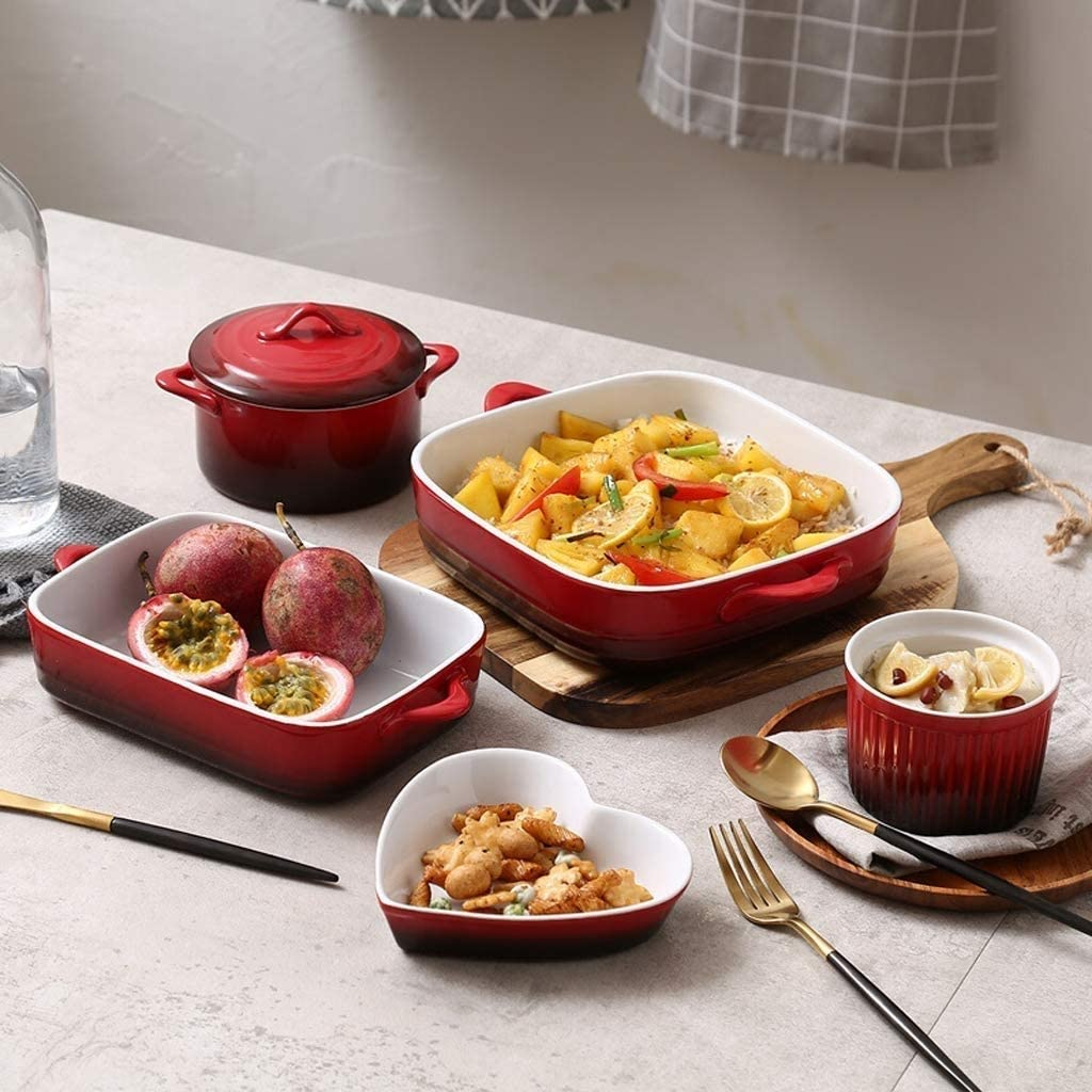 KJRJH Ceramic Baking Dish Set,Oven to Table Cookware 5-Piece,Oven Dishes-Baking Sets Microwave Oven Dedicated Black Red Gradient