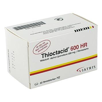 THIOCTACID 600 HR comprimidos recubiertos con película 60 St comprimidos recubiertos con película: Amazon.es: Salud y cuidado personal