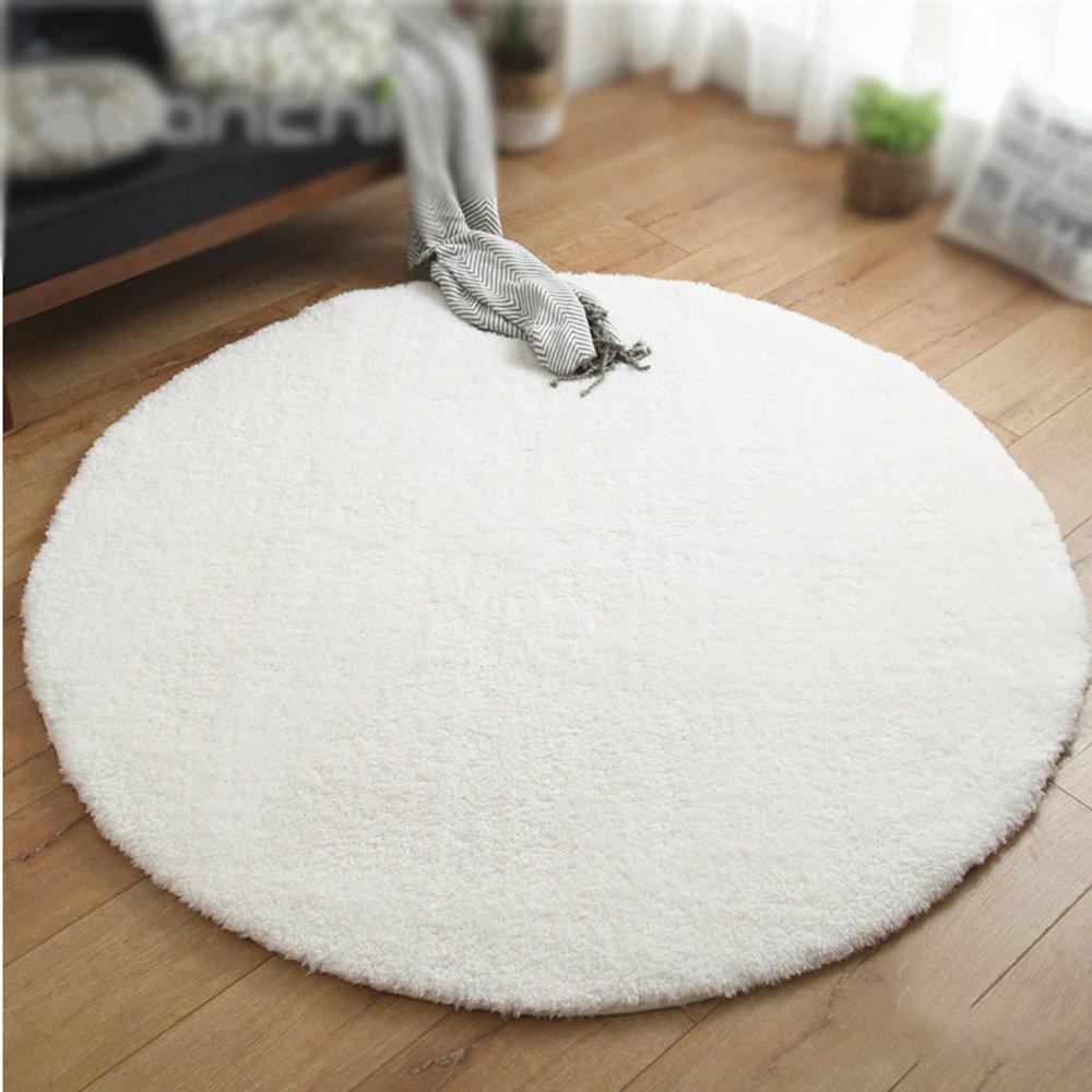 XIN-Carpet Einfarbig runde Teppich/Dicke 4 cm Teppich/Wohnzimmer wohnzimmertisch Schlafzimmer Nacht Teppich/Kinder Zelt Teppich/pet pad/Korb stuhlmatte (Farbe : Weiß, größe : Diameter 160cm)