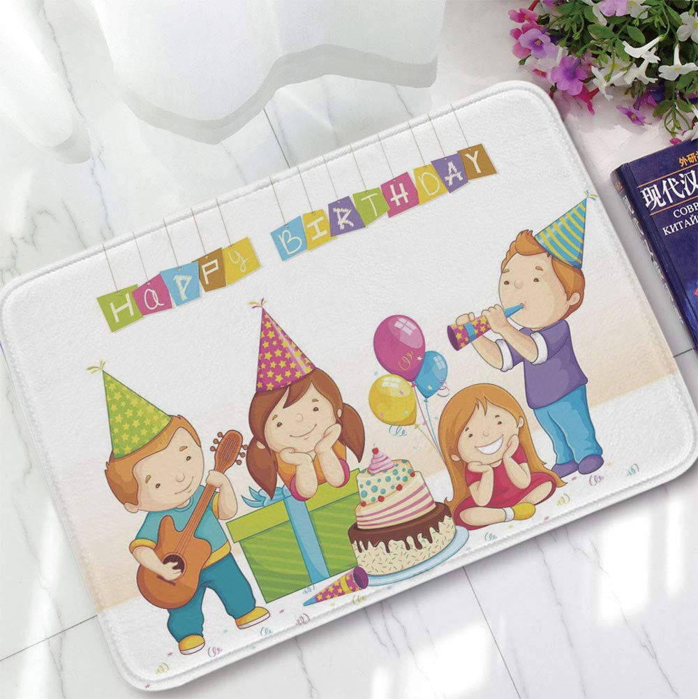 YOLIYANA Short Fur Floor Mat,Birthday Decorations for Kids,for Home Meeting Room,15.75''x23.62'',Colorful Kindergarten Party Cone Hats Cake