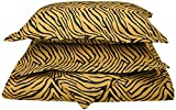 1800 Series 100% Brushed Microfiber, Deep Pocket, Wrinkle Resistant 3-Piece King/California King Duvet Cover Set, Animal Print, Gold/Black