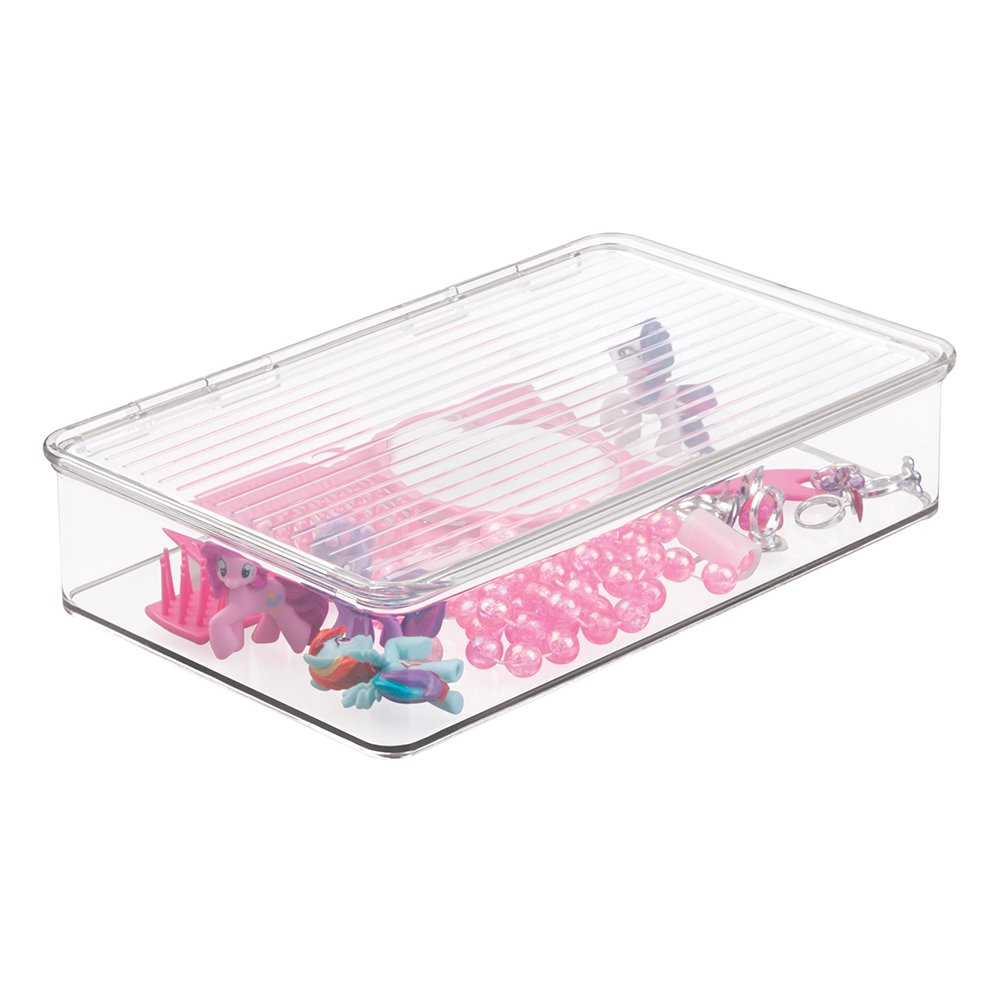 mDesign Slim Stackable Toy Storage Bin with Hinged Lid - Playroom Plastic Organizer for Kid/Child Cars, Barbie Dolls, Baby Doll Clothes, Puzzles, Army Men, Building Blocks - BPA free, Clear