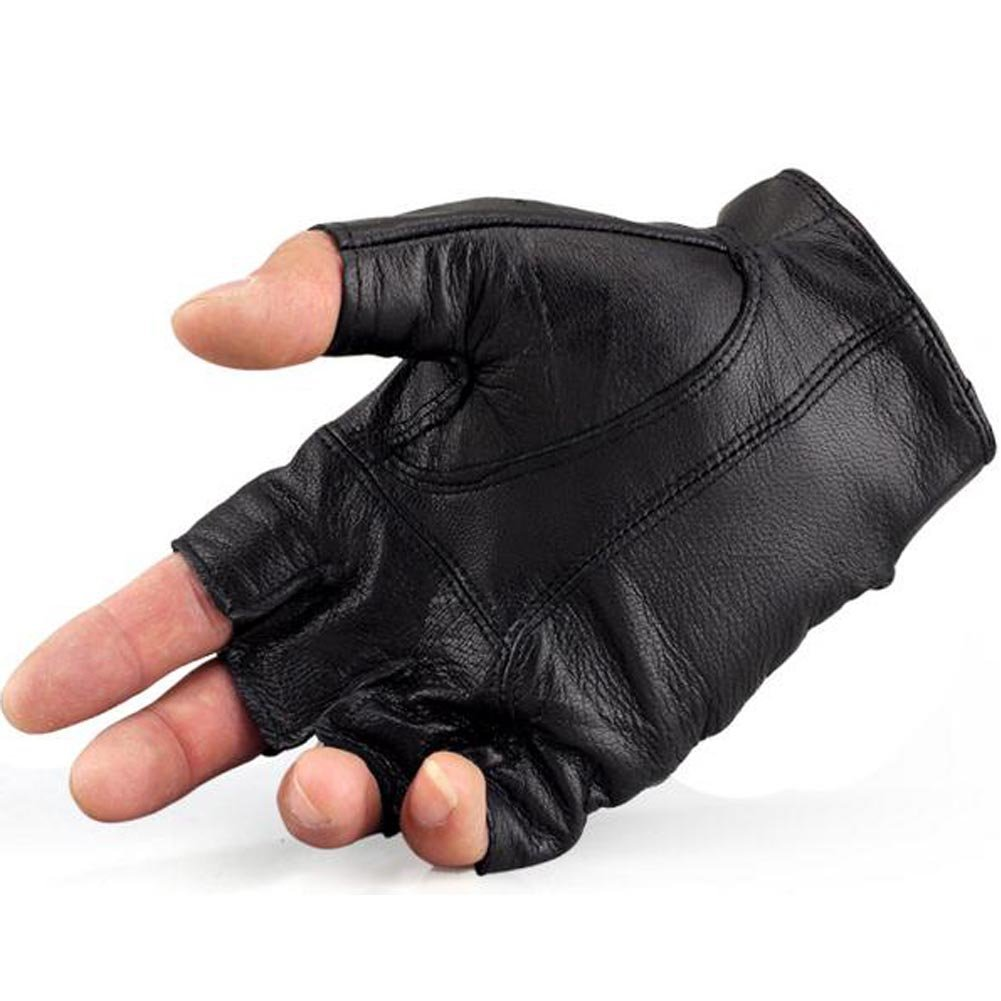 K-mover Half Finger Leather Gloves Fingerless Street Dance Glove Cycling Gloves Universal Fit One Size by K-mover (Image #3)