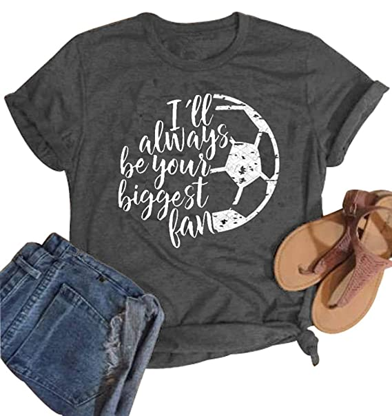 c4191379421a I'll Always be Your Biggest Fan Baseball Mom T Shirt Softball Cute Fashion  Tops at Amazon Women's Clothing store: