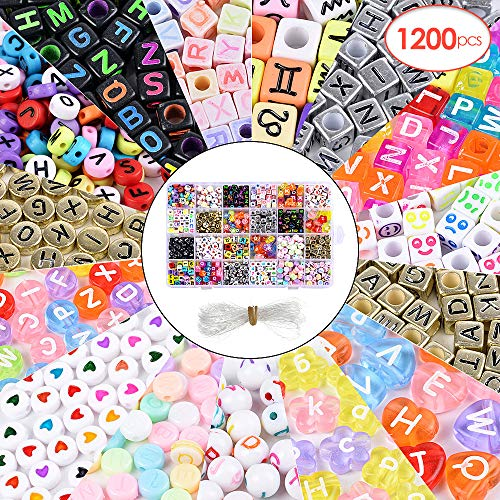 Roblue 1200PCS Letter Beads 24 Types Acrylic Letter Beads for Bracelets Craft Beads for DIY A-Z Alphabet Letter Beads for Jewelry Making, Necklaces, Key Chains and Kids Jewelry