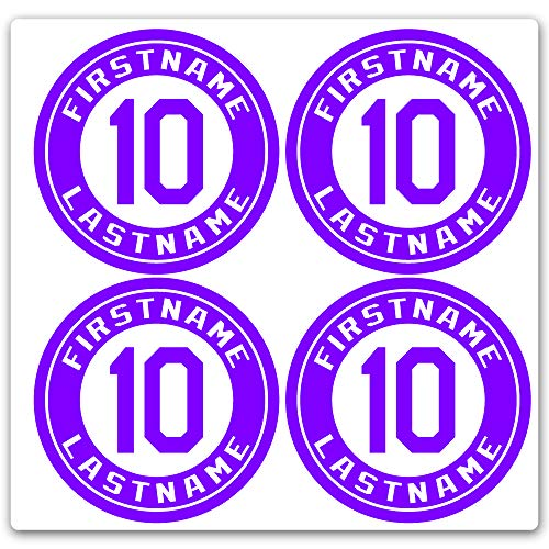 - Custom Baseball Bat Decal Set - Player Name and Number Design Bat Knob Sticker (Purple)