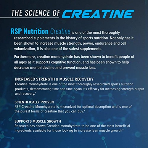 RSP Creatine Monohydrate – Pure Micronized Creatine Powder Supplement for Increased Strength, Muscle Recovery, and Performance for Men & Women, Unflavored (300 Grams)