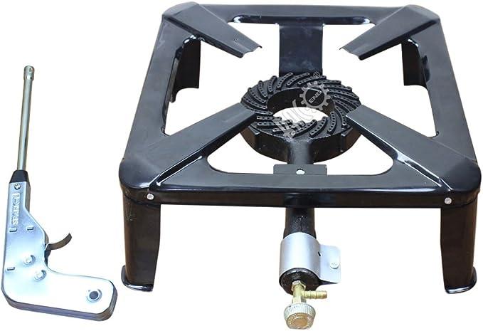 BACOENG Hornillo de gas hierro fundido con Spark encendedor ...