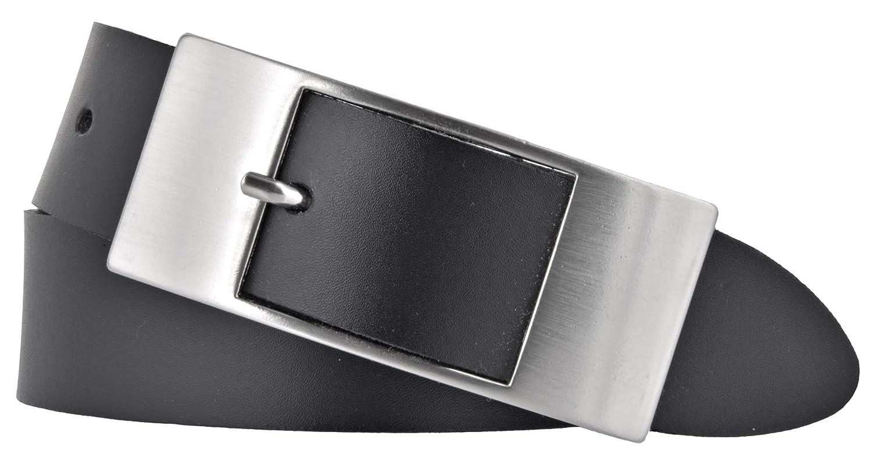 TALLA 85. Bernd Götz - Cinturón de piel para mujer, 35mm, piel de vacuno, color negro
