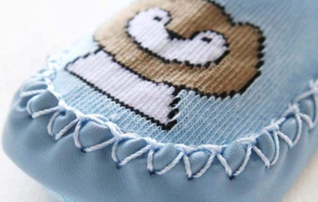 WARMSHOP Newborn Cartoon Animal Boys Girls Leather Soft Sole Anti-Skid Warm Sock Slippers Slip-On Loafer Shoes