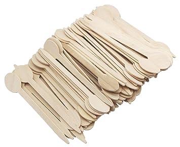 Palillos de madera desechables con forma elíptica, punta afilada, para fiestas, bodas,