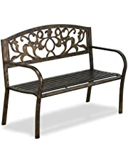 Yaheetech Metal antique Garden Bench Doubel Seat with Cast Iron Floral Pattern Insert Backres