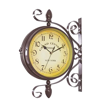 Double Sided Wall Clock – Wrought Iron Vintage-Inspired Station Clock with Scroll Wall Side Mount – 360 Degree Rotation Home D cor Wall Clock