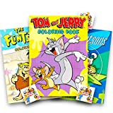 Cartoon Classics Coloring Books Set ~ The Jetsons, The Flintstones,and Tom & Jerry plus Specialty Bookplate Stickers