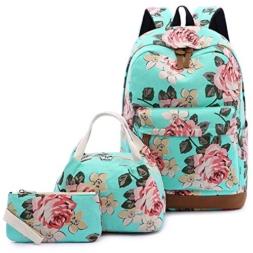 cks For Girls Canvas School Bookbags Teen Girls Backpacks With Lunch Bag (Floral Lake Blue) ()