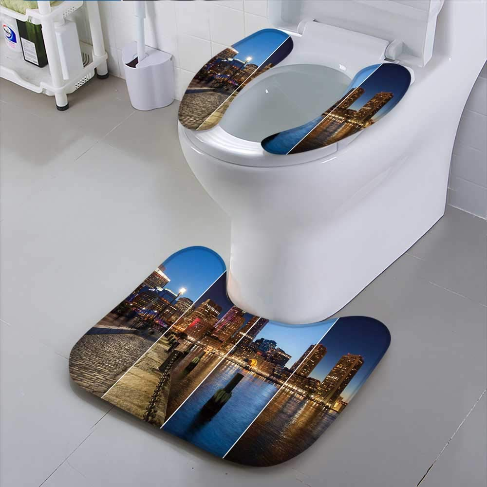 HuaWu-home Toilet SeatBoston Skyline Day to Night Montage Massachu ts USA United States of America Suit for The Toilet