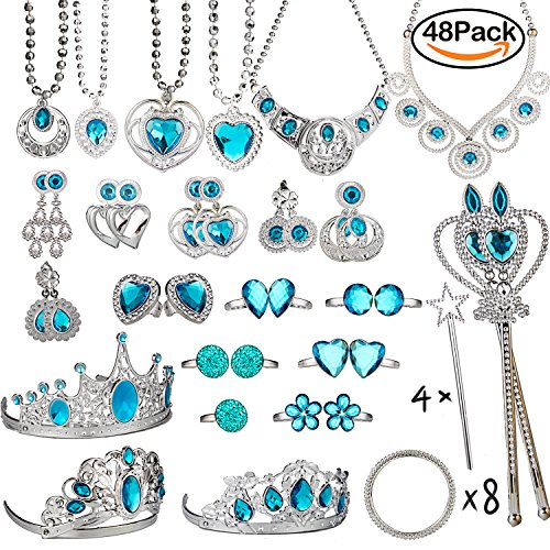 WATINC Princess Pretend Jewelry Toy,Girl's Easter Tiara Dress Up Play Set,Included Crowns, Necklaces,Wands, Rings,Earrings and Bracelets For Birthday Party Favor,48 Pack