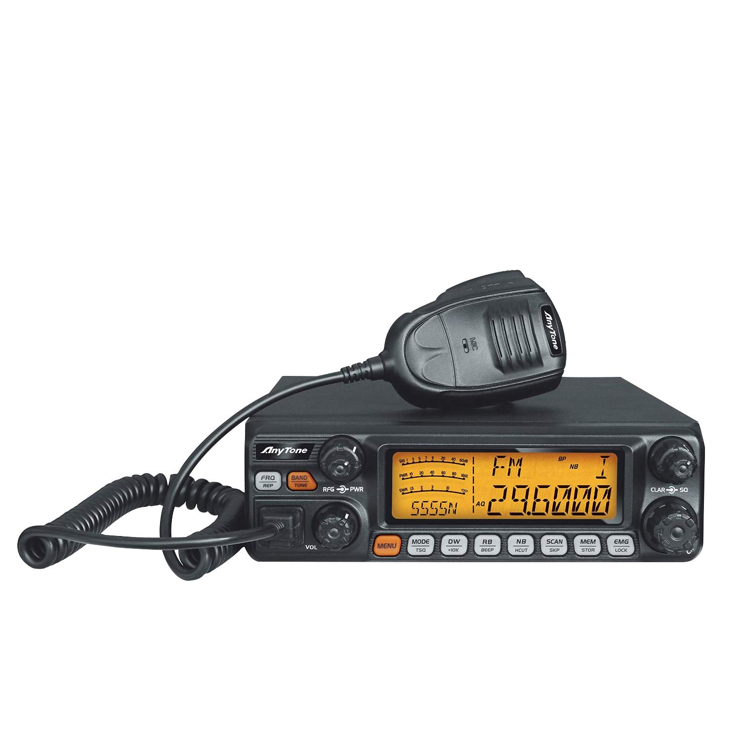 AnyTone AT-5555N 10 Meter Amateur Radio for Truck, with SSB/FM/AM/PA Mode,High Power Output 12W AM,30W FM,SSB 30W PEP by AnyTone