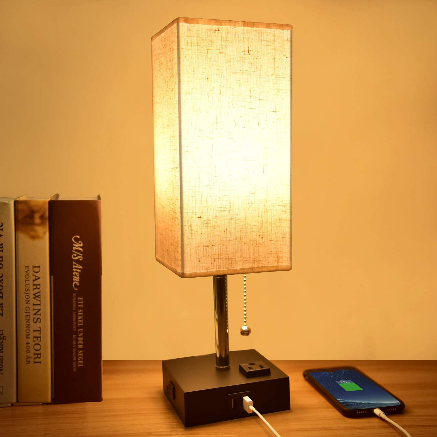 USB Table Lamp,Comzler Modern Bedside Lamp with USB Port to Recharging Your Devices,Warm LED Bulb Included,Ambient Light, Fabric Shade, Nightstand Lamp Perfect for Bedroom