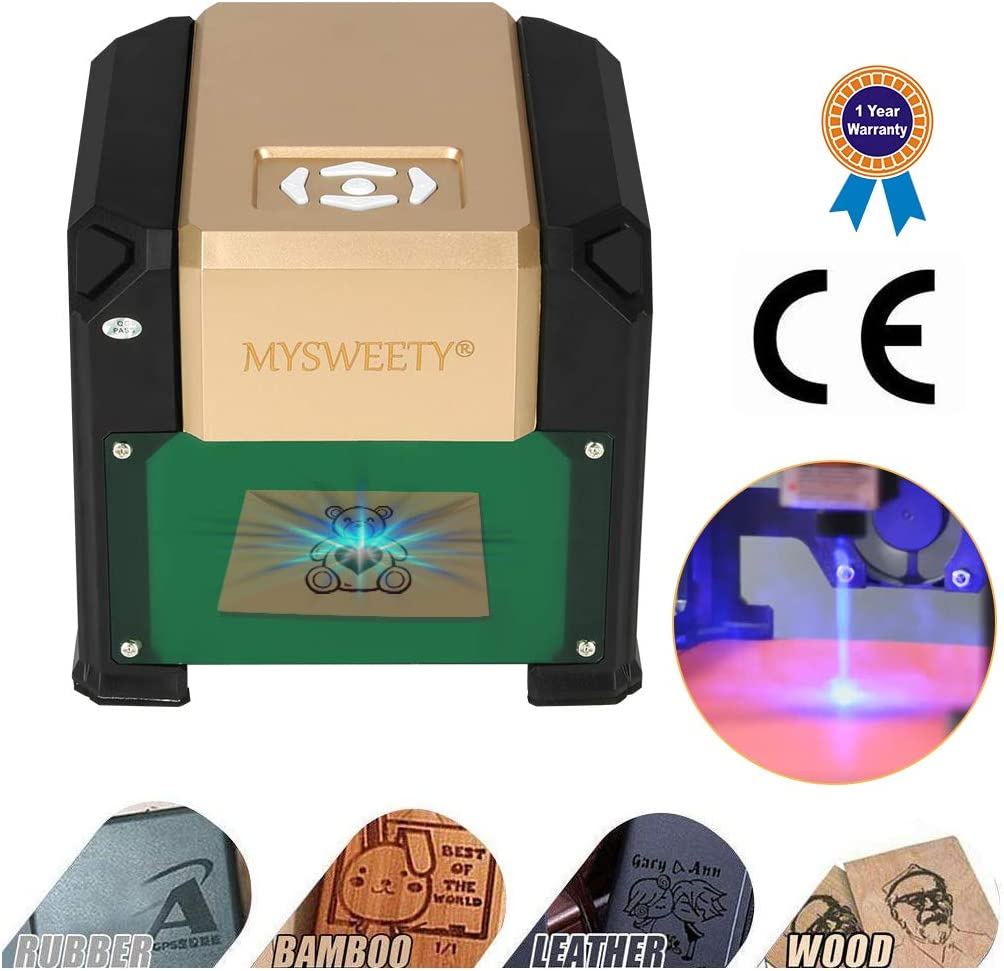 Supporting Computer//Offline//WIFI Control Logo Mark 3 0 0 0 mW Engraving Machine Wood Art Craft Mini Carver Wood Printer with Protective Glasses for DIY Plastic Working Area 225mmx120mm